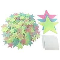 "HoneyToys 204PCS 1.2"" Luminous Stars Fluorescent Noctilucent Plastic Wall Stickers Decals for Home Ceiling Wall Baby Kids Bedroom (Multi-Color)"