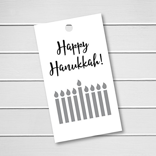 16pk - Happy Hanukkah 8 Days of Hanukkah Silver Foil Menorah Gift Tags (BC-575-F)