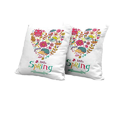 (Lumbar Cushion Cover Hello,Doodle Style Hello Spring Quote Printed with Heart Shaped Frame of Animals Flowers,Multicolor Square Euro Sham Cushion Cover 24x24 INCH)