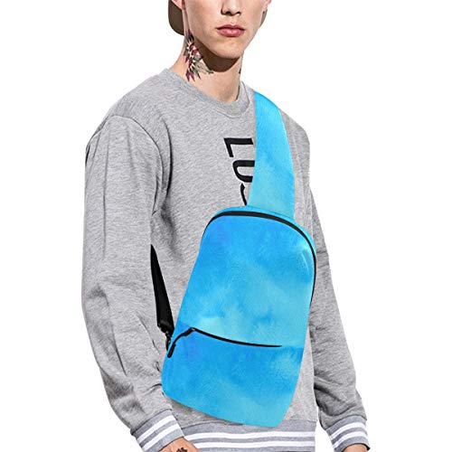 Sling Shoulder Bag Fashion Watercolor Hazy Featured Color Fades Bohemian Turquoise Sepiolite Art Crossbody Bag Daily Sports Climbing Or Multi-purpose Backpack Men And Women Ladies And Teens