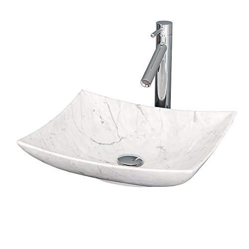 Wyndham Collection Arista Vessel Vanity Bathroom Sink in White Carrara Marble