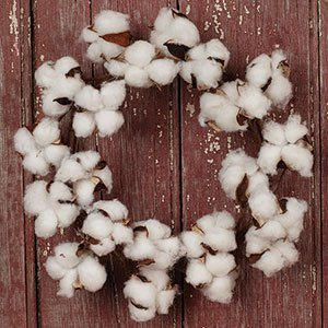 """The Country House Collection MINI Cotton Boll Floral Wreath (11"""" Outer Diameter) 76"""
