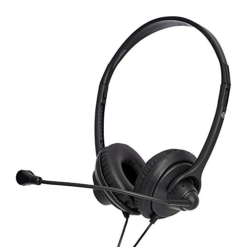 Amazon Basics Leather Cover USB Headset with Mic and Mute Option