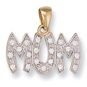 Or jaune 9 carats et zircones «Mum»-Taille L