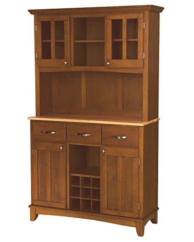 Home Styles 5100-0061-62 Buffet of Buffets Natural Wood Top Buffet with Hutch, Cottage Oak Finish, 41-3/4-Inch ()