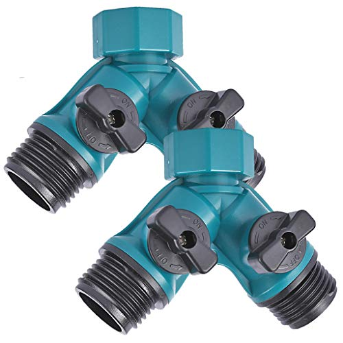 IronBuddy Hose Splitter 2 Way Y Hose Connector Splitter with Shut-Off Vavle for Garden Lawn Watering and Car Washing System, Plastic, Pack of 2 (Splitter)