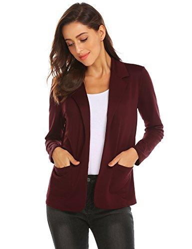 Knit Cardigan Jacket - Zeagoo Womens Casual Work Office Blazer Open Front Long Sleeve Cardigan Jacket (Dark Red, M)