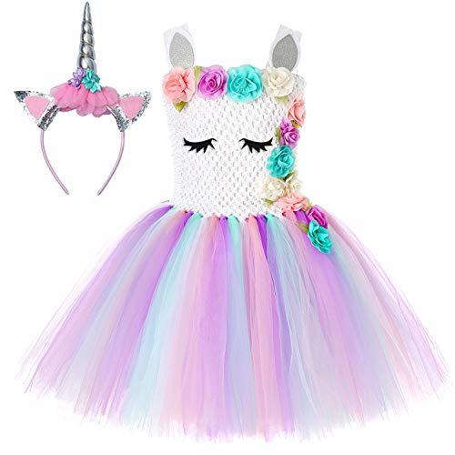 Soyoekbt Unicorn Tutu Dress for Girls Kids Birthday Party Unicorn Costume with Headband White L