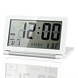 eBoTrade Multifunctional Silent LCD Mini Digital Travel Desk Electronic Alarm Clock With Date/Time/Calendar/Temperature Display, Snooze, Folding (Sliver)