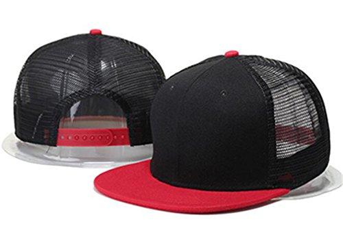 Cotton Flat Brim Camo Baseball Cap Mesh Hats Camouflage Black White Red Grey Royal Blue ()