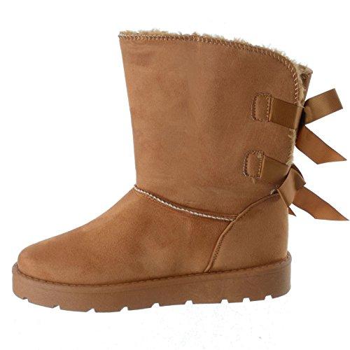 Miss Image UK Damen Winter Warm Winter Wade Flach Pelzfutter Profilsohle Snugg Stiefeletten Schuhe Größe Kamel