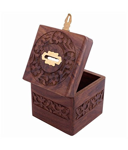 xmas present, Wooden Coins Storage Box, Money Bank & Carving Work & Lock, Kids Coin Bank, Money Banks For Kids / Adults / Girls, Brown Color Size 4.5 X 3 Inch Photo #2