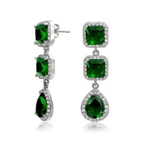 Long Green Teardrop Square Halo Pave CZ Prom Pageant Statement Chandelier Earrings Simulated Emerald Silver Plated Brass