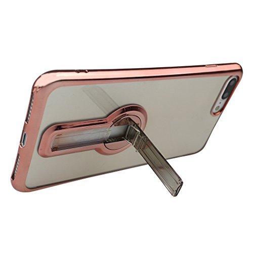 Funda iPhone 7 Silicona, Rosa Schleife Ultra delgado Cubierta de la caja del silicón de TPU Caso Carcasa cubrir con diseño de chapado de la contraportada Función de Soporte Funda de Móvil para el iPho Edge Plating - Oro Rosa