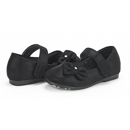 DREAM PAIRS Angel-5 Adorable Mary Jane Side Bow Buckle Strap Ballerina Flat (Toddler/Little Girl) Black-Suede Size 7