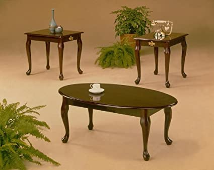 Beau Image Unavailable. Image Not Available For. Color: 3 Pcs Cherry Finish  Coffee U0026 End Table Set Queen Anne Style