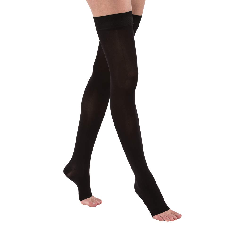 BSN Medical 115558 JOBST Compression Hose, Thigh High, 15-20 mmHg, Open Toe, Large, Classic Black