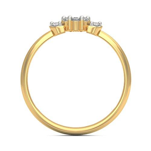 14K Or jaune, 0,2CT TW Diamant Blanc (IJ   SI) en diamant
