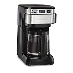 The Hamilton Beach programmable easy access Coffee maker puts an end to maneuvering of a countertop Coffee maker. You can fill the water tank from the front, instead of the back. This Coffee maker takes up less space but still makes up to 12 ...