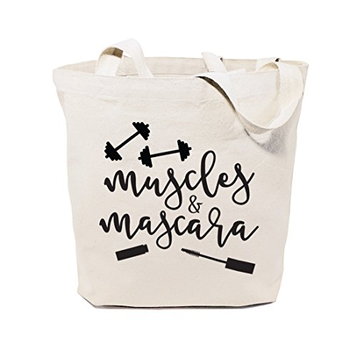 The Cotton & Canvas Co. Muscles & Mascara Gym, Shopping and Travel Resusable Shoulder Tote and Handbag