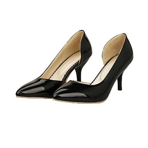 Amoonyfashion Mujer's Pull-on Charol Kitten-heels Solid Pumps-Zapatos Black