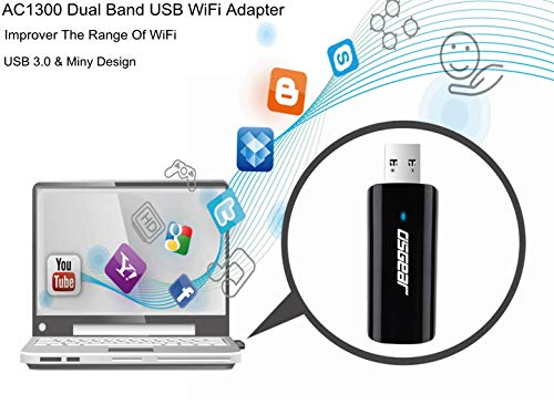 OSGEAR USB WiFi Adapter 1300Mbps Wireless Card Network Dongle Portable for PC Laptop Desktop Computer Dual Band 2.4Ghz 400Mbps 5.8Ghz 867Mbps 802.11AC Windows 10 8 7 XP Vista Mac Linux