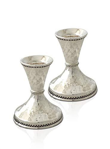 (Avi Nadav Small size sterling silver Shabbat Candlesticks with handmade filigree decoration, Elegant looking Jewish Wedding)