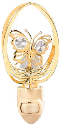 (Mini Butterfly in Elipse in 24K Gold Plated Night Light..... With Clear Swarovski Austrian Crystal)