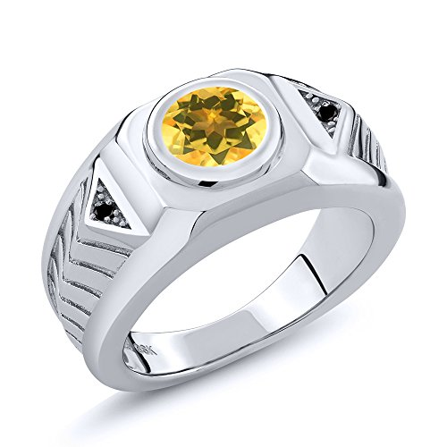 1.53 Ct Round Yellow Citrine Black Diamond 925 Sterling Silver Men's Ring (Available in size 8, 9, 10, 11, 12, 13) (Diamond Citrine And Ring)