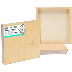 DAVELIOU 10×10 inch (25 x 25 cm) Wooden Painting Board – 5-Pack Birch Wood Cradle Panel Boards – Wood Canvas Craft Supplies Used by Artists for Crafts Painting and Encaustic Art