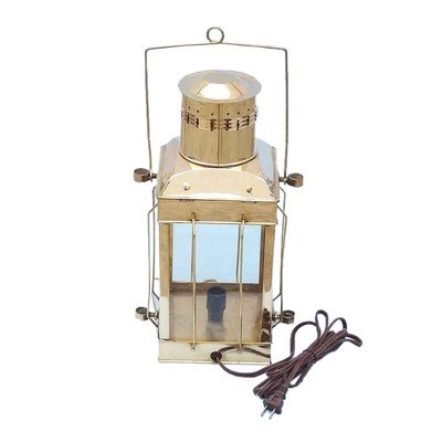 Cargo Electric Lamp Size: 18″ H x 10″ W x 8″ D, Finish: Solid Brass