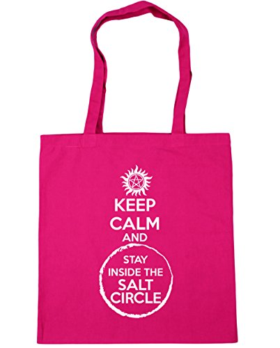 HippoWarehouse Keep Calm And Stay Inside The Salt Circle Tote Shopping Gym Beach Bag 42cm x38cm, 10 litres Fuchsia
