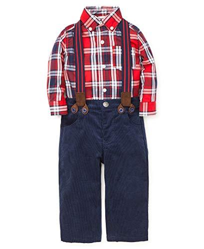 Little Me Plaid Dress Shirt - Little Me Baby Boy's Pant Set Pants, tango red/dress blues, 12 Months