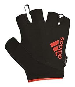 adidas Fingerless Gloves, Black/Red Logo, X-Large