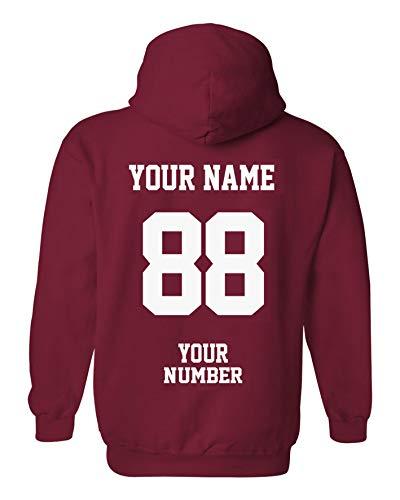 Design Your OWN Hoodie - Custom Jersey Hoodies - Pullover Team Sweatshirts Cardinal Red ()