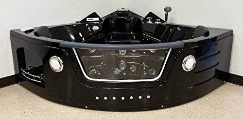 2 Two Person Whirlpool Massage Hydrotherapy Black Corner Bathtub Tub with Bluetooth, Remote Control, Water Heater, and Shower Wand