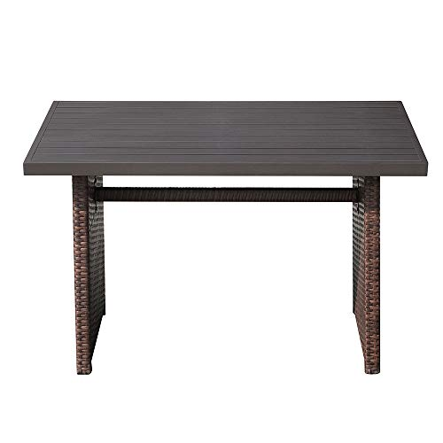 Super Patio Outdoor Patio Coffee Table, Wicker Rectangular Dining Table with Aluminum Table Top, Steel Frame (Brown)