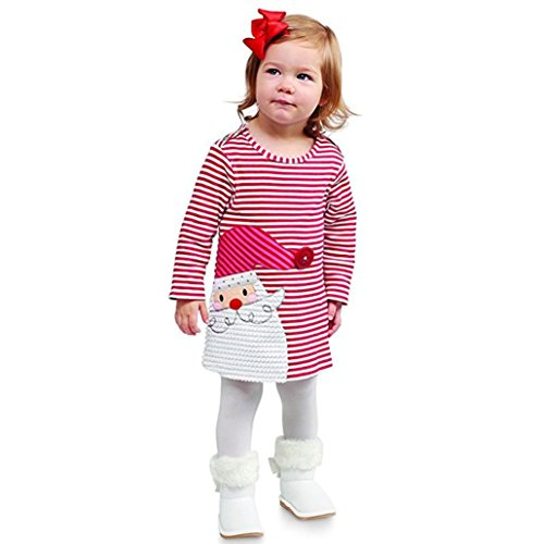 Vicbovo Clearance Sale Toddler Baby Girl Xmas Santa Deer Print Dresses Casual Kids Christmas Clothes Outfits (3T, Red) -