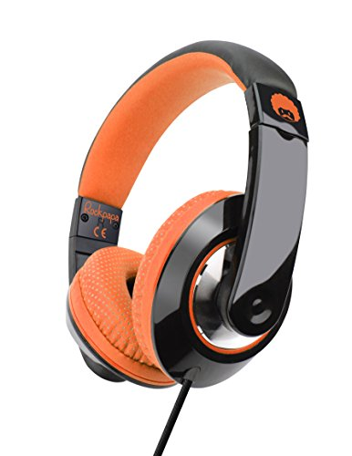 Rockpapa Comfort+ Adjustable Over Ear Headphones Earphones with Microphone in-line Volume for Adults Kids Childs Teens, Smartphones Laptops DVD MP3/4 Surface iPhone iPod iPad MacBook Black Orange