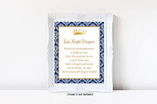 Prince Baby Shower, Late Night Diapers Sign, Damask Print, Diaper Baby Shower Game, Royal Prince Baby Shower, Boy Baby Shower, Baby Shower Games, 8x10 Glossy Sign, Frame is NOT included