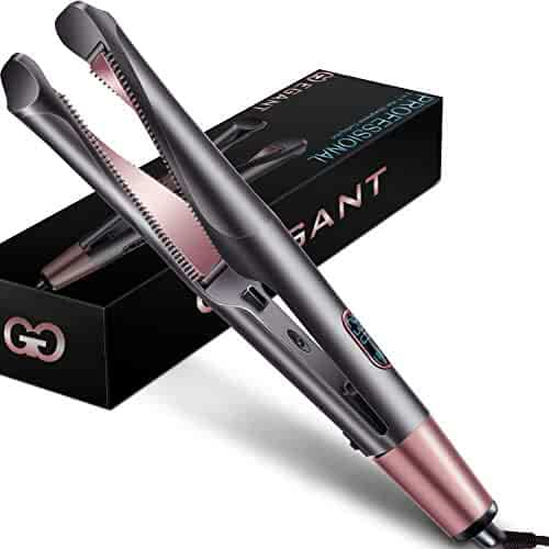 Professional Hair Straightener Curling Iron 2 in 1 Tourmaline Ceramic Twisted Flat Iron for All Hair - Christmas Gifts for Women, Girl, Mom, Girlfriend, Valentine's Day, Mother's Day - LCD Display