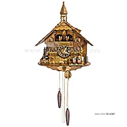 1 Day Musical Black Forest Chalet Cuckoo Clock with Bell Tower and Couple By Hönes