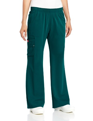 Dickies Scrubs Women's Xtreme Stretch Fit Elastic Waist, Hunter Green, (Green Elastic Waist Uniform Scrub)
