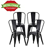 """Chairs Metal Kitchen Chair Dining Chair 18"""" Seat Height Metal Kitchen Stackable Chairs Set of 4 Trattoria Restaurant Chairs Metal Tolix Indoor/Outdoor Side Bar Chairs"""