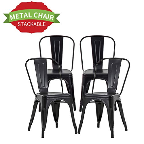 "Chairs Metal Kitchen Chair Dining Chair 18"" Seat Height Metal Kitchen Stackable Chairs Set of 4 Trattoria Restaurant Chairs Metal Tolix Indoor/Outdoor Side Bar Chairs"