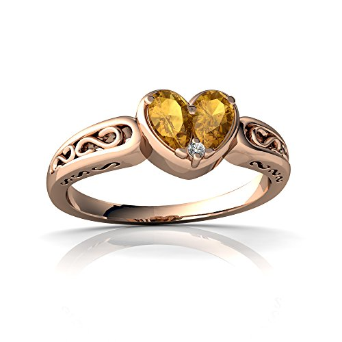 14kt Rose Gold Citrine and Diamond 5x3mm Pear filligree Heart Ring - Size 9