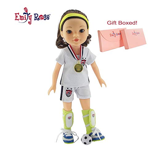 Emily Rose 14 Inch Doll Clothes for Glitter Girls   USA 8 Piece 14 Doll Soccer World Cup Olympic Uniform, Including Gold Medal!   Doll Clothes Fit American Girl Wellie Wisher Dolls   Gift Boxed!