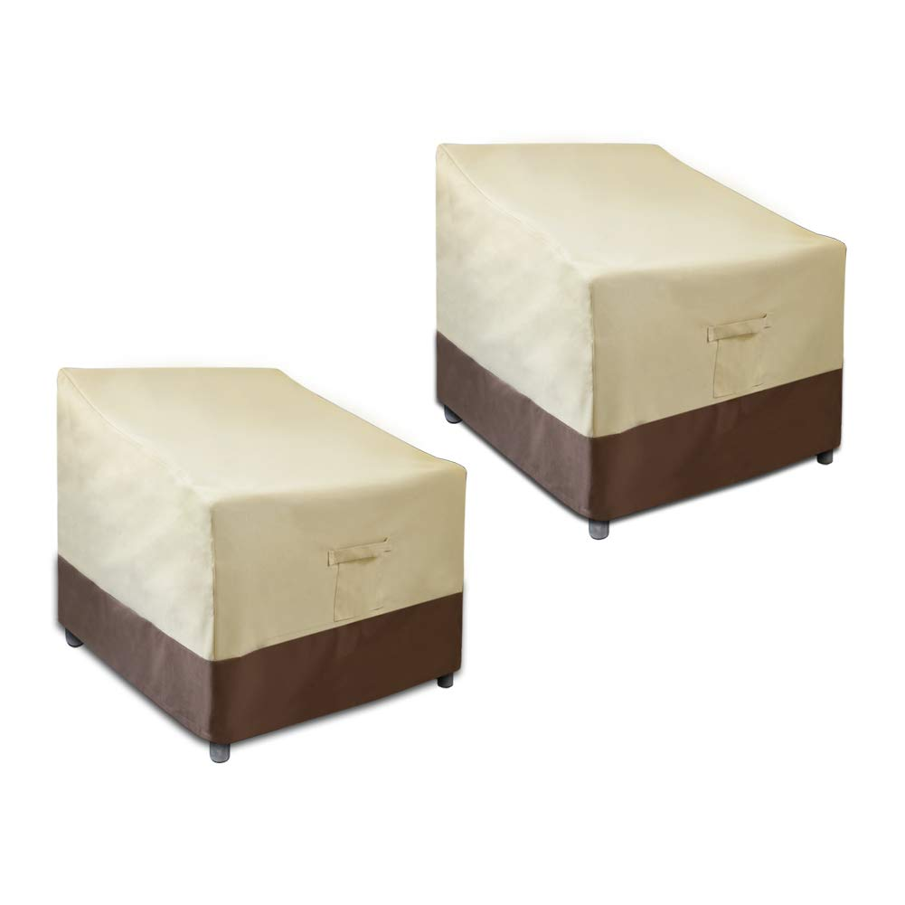 GLANT Patio Chair Covers, Lounge Deep Seat Cover, Heavy Duty and Waterproof Windproof RainproofOutdoor Lawn Patio Furniture Covers Large-2 Pack, Beige Brown