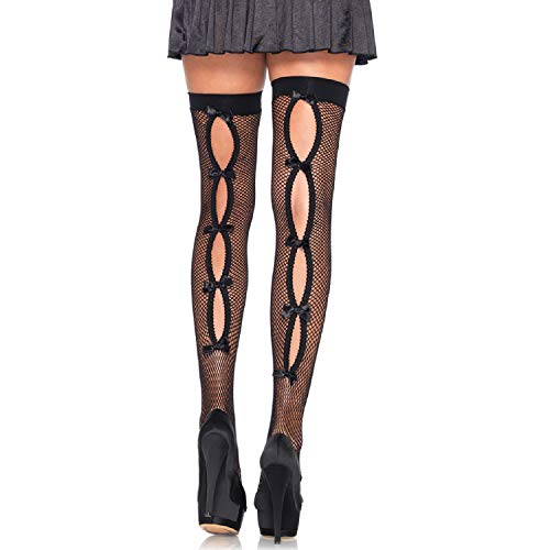 (Leg Avenue Womens Fishnet Thigh Highs with Keyhole Bow Backseam)