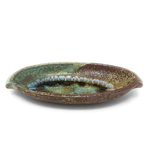 Dock 6 Pottery 9-inch Oval Dish with Fused Glass, Green/Copper